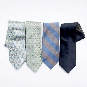 Lot of 4 Mens 100%  Silk Neck Ties